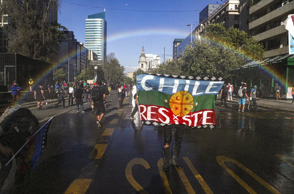 Protesta anti governativa a Santiago del Cile