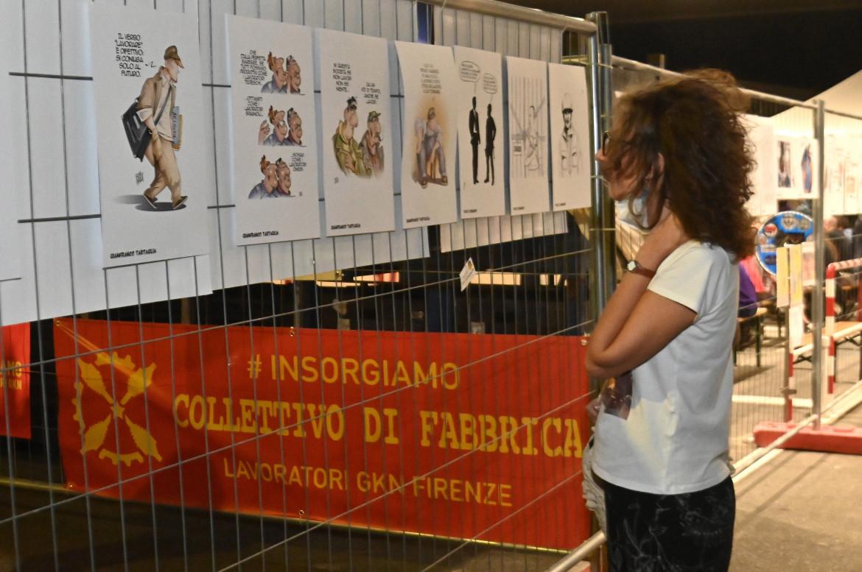 La mostra con le opere donate agli operai da vignettisti e grafici