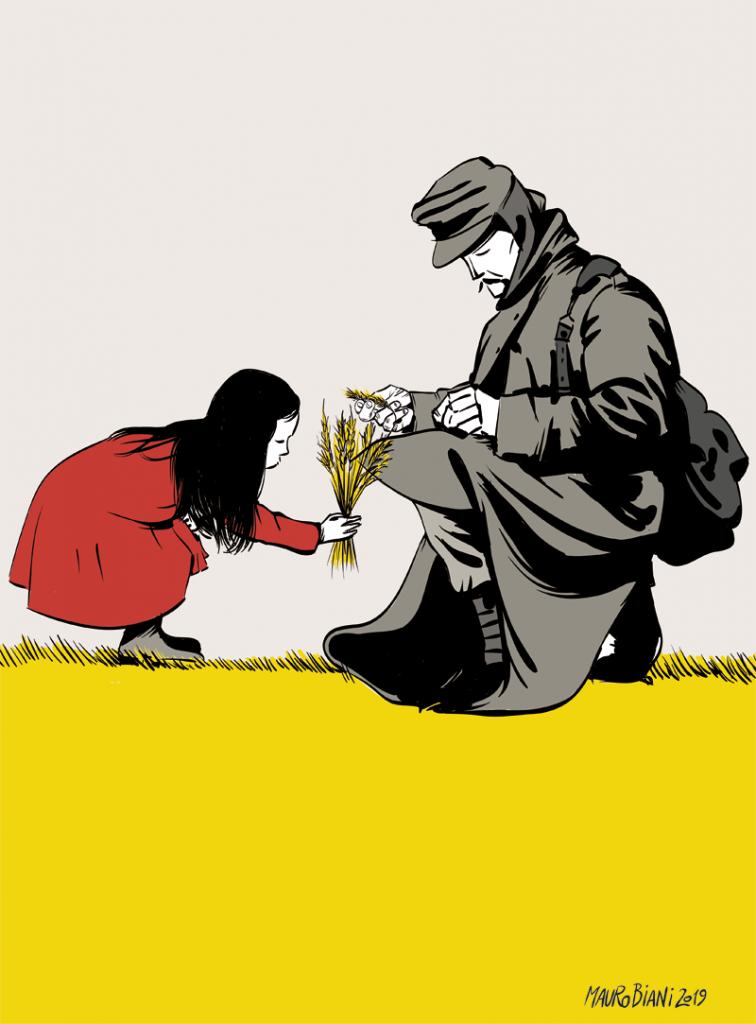 La copertina del libro di Asterios disegnata da Mauro Biani