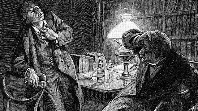 Doctor Jekyll e Mister Hyde in una illustrazione d'epoca