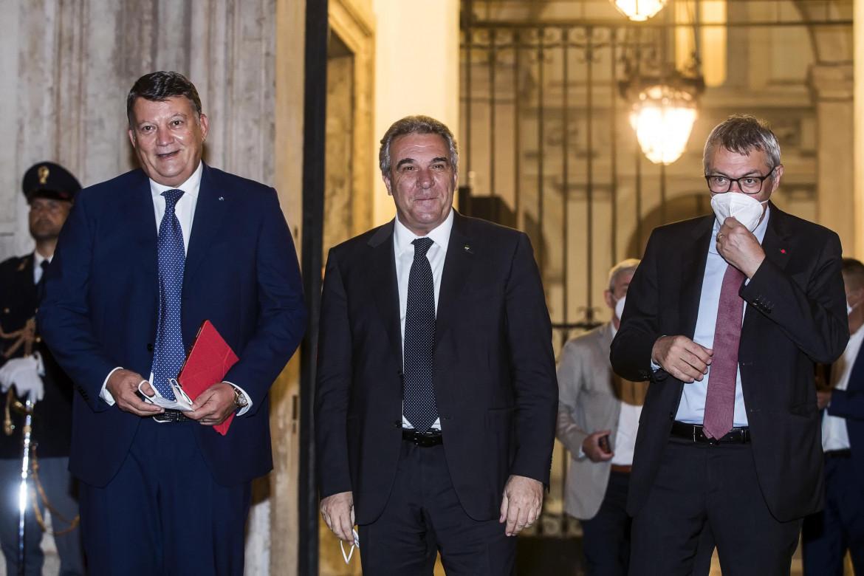 I segretari della Uil, Cisl e Cgil Pierpaolo Bombardieri, Luigi Sbarra e Maurizio Landini,