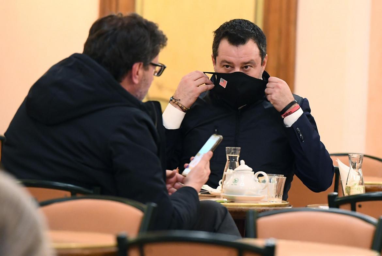Matteo Salvini con Giancarlo Giorgetti