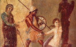 Aiace dOileo afferra Cassandra che abbraccia il Palladio presso laltare di Atena a Troia particolare di un affresco pomepeiano atrio della Casa del Menandro