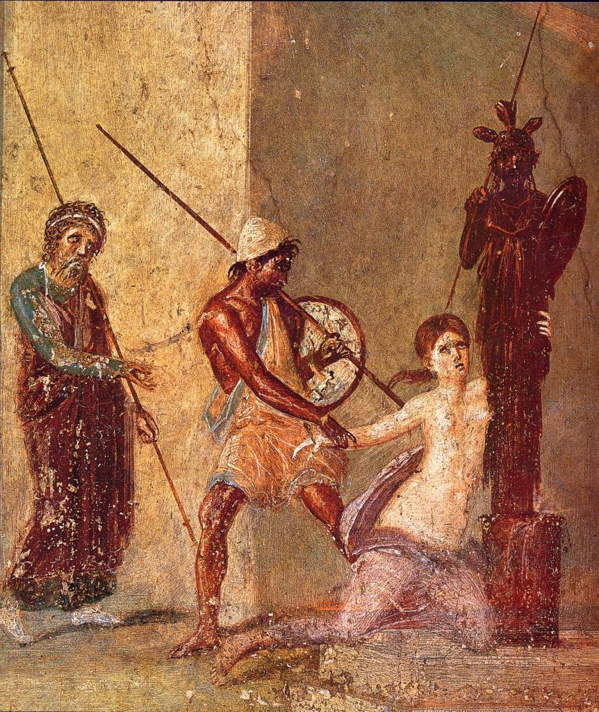 Aiace d'Oileo afferra Cassandra che abbraccia il Palladio presso l'altare di Atena a Troia: particolare di un affresco pomepeiano, atrio  della Casa del Menandro