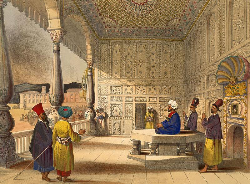 James Rattray (1818-1854), Interno del Palazzo di Shauh Shujah Ool Moolk, sovrano di Kabul, Emiro dell'Afghanistan, qui all'atto della sua incoronazione nel 1839; litografia dal terzo pannello della serie  'Afghaunistan'.  Londra, The British Library