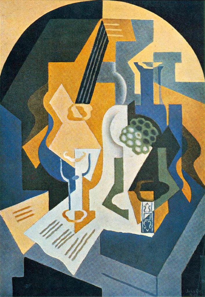 uan Gris, «Natura morta con fruttiera, piatto  e mandolino», 1919