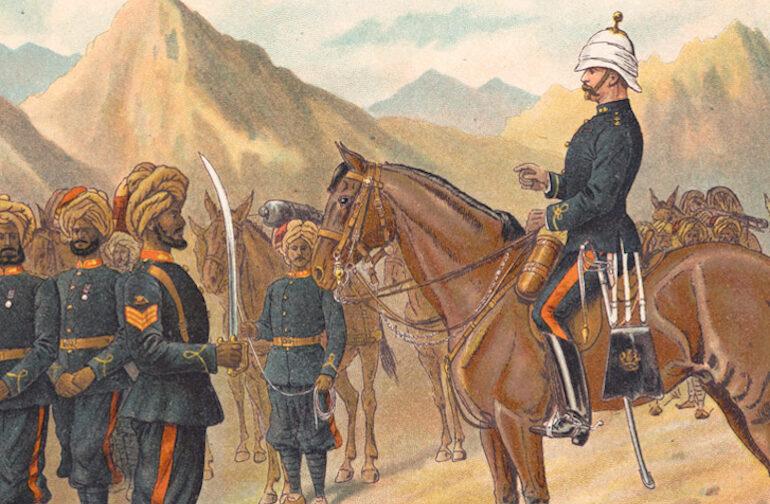 La Kohat Mountain Battery numero 1, Punjab Frontier Force; cromolitografia di Richard Simkin, 1896 ca.