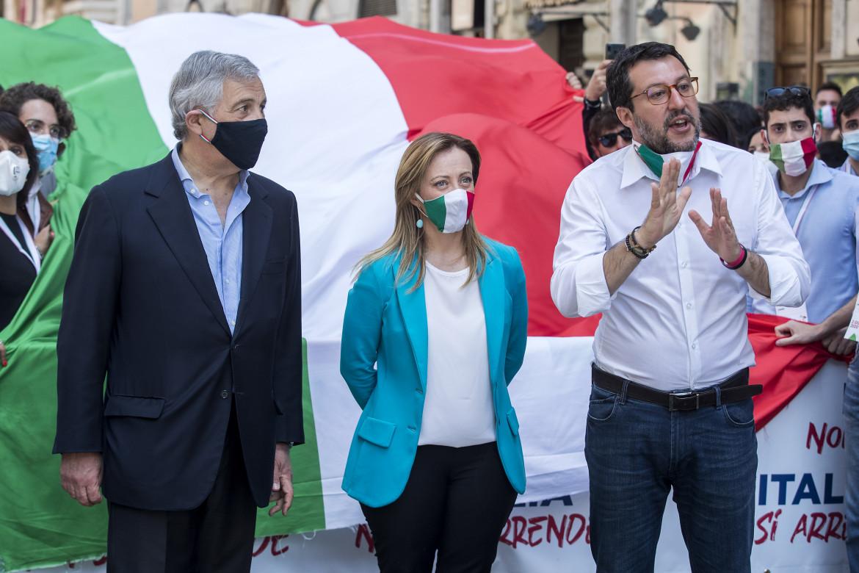 I leader del centro-destra, Tajani, Meloni e Salvini