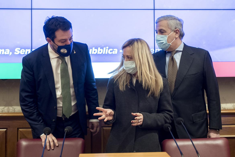 Matteo Salvini, Giorgia Meloni e Antonio Tajani