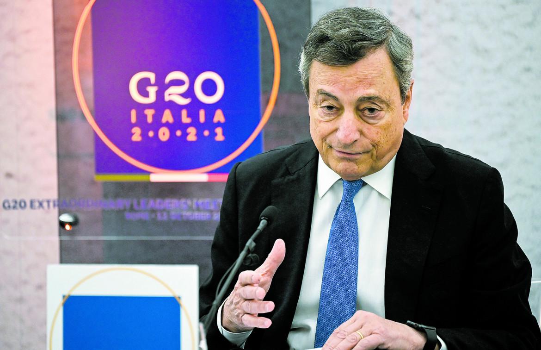 Il presidente del Consiglio Mario Draghi ieri durante la conferenza stampa dopo il G20