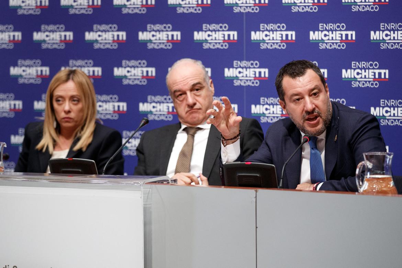 Salvini, Meloni e il candidato di Roma Enrico Michetti