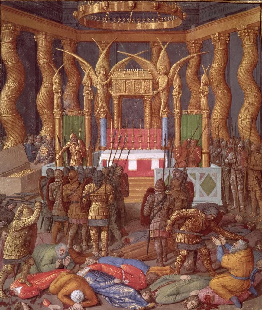 Jean Fouquet illustratore delle Antichità giudaiche di Giuseppe Flavio,  1470 ca.: la presa del Tempio  di Gerusalemme  a opera di Pompeo  e dei suoi soldati (63 a.C.)