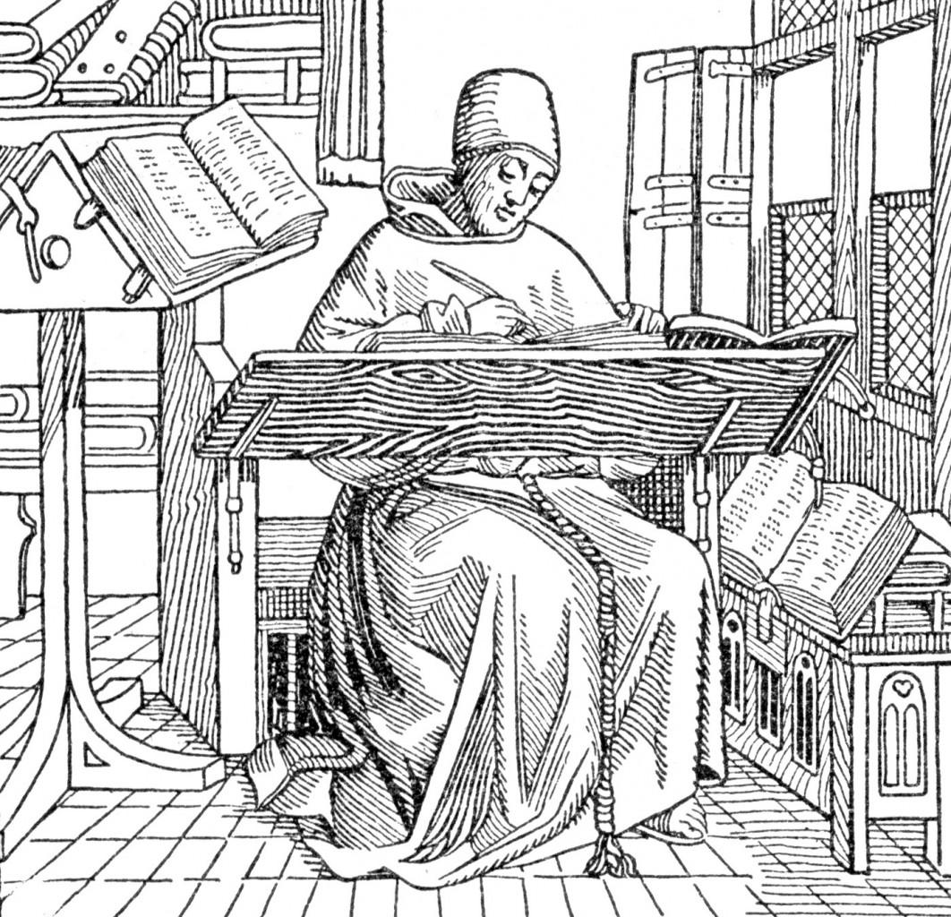 Monaco copista al lavoro, incisione del XIX secolo, da: Philip Van Ness Myers, Medieval and modern History, Ginn, 1905