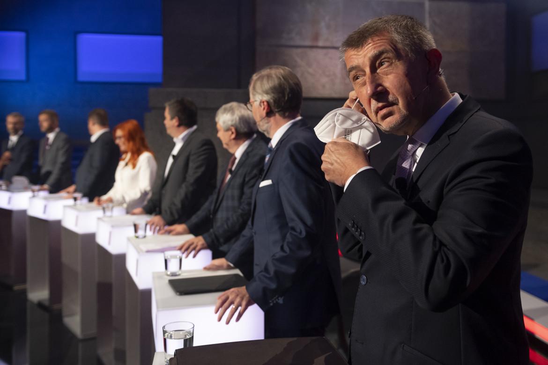 Andrej Babiš durante il super dibattito tv pre-elettorale dei candidati